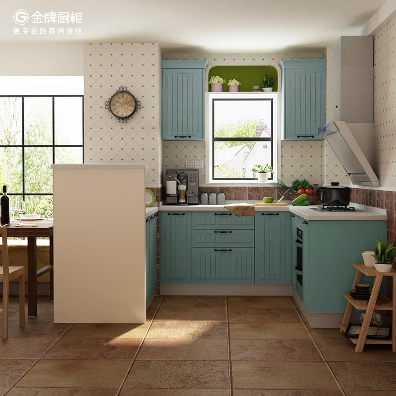 金牌厨柜整体橱柜定做西雅图湖蓝欧式橱柜石英石台面整体橱柜定制