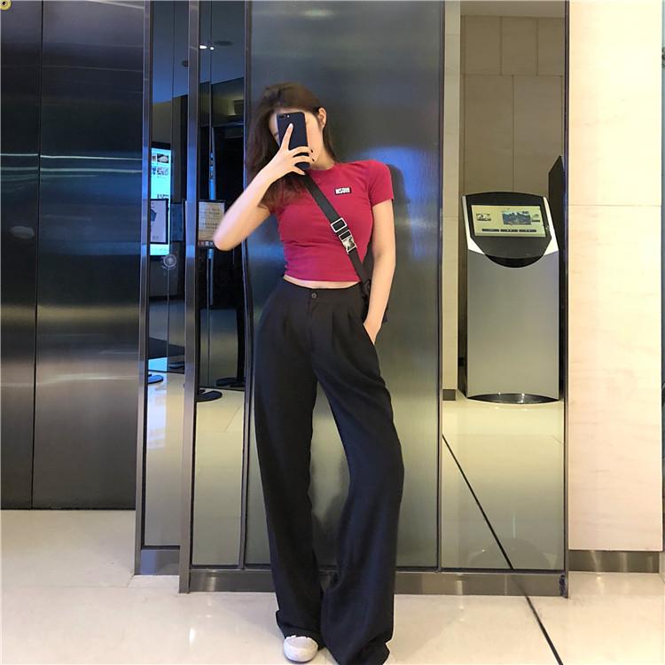 高腰纯色短裤两件套