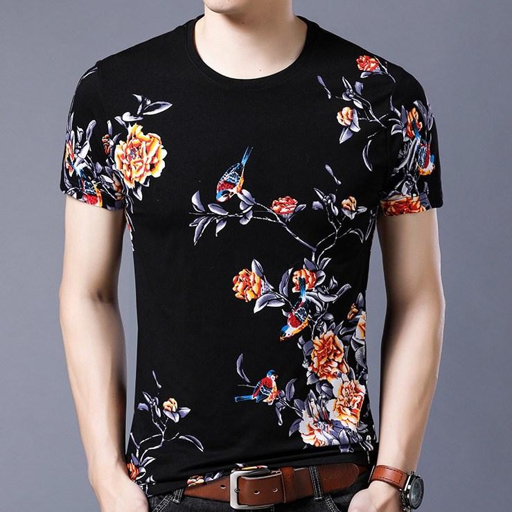 Summer short sleeve printed t-shirt mens round neck half sleeve cotton top youth personality T-shirt Dragon Flower Bird pattern Fashion