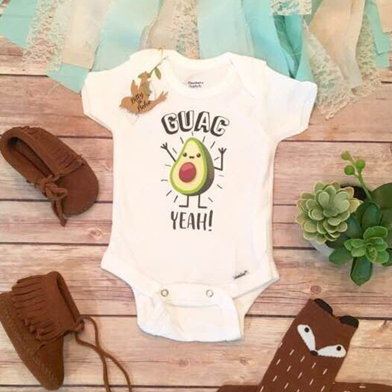 Childrens European and American Summer Boys short sleeve cute avocado one-piece climbing suit childrens one-piece