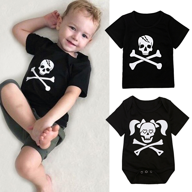 Childrens European and American Halloween short sleeve skull top / jumpsuit climbing suit childrens suit brother and sisters Jumpsuit