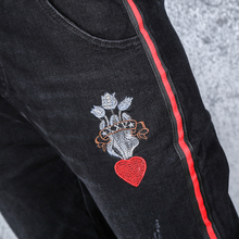 2017新款长裤韩版高腰黑色刺绣哈伦裤休闲牛仔裤女秋季