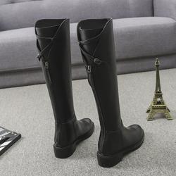 欧洲站2020秋冬真皮不过膝长靴粗跟后拉链高筒靴圆头新款骑士靴女