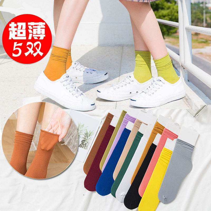 堆堆袜女薄款夏季透气韩版中筒薄泫雅风 ins潮黑色长袜子女夏长筒