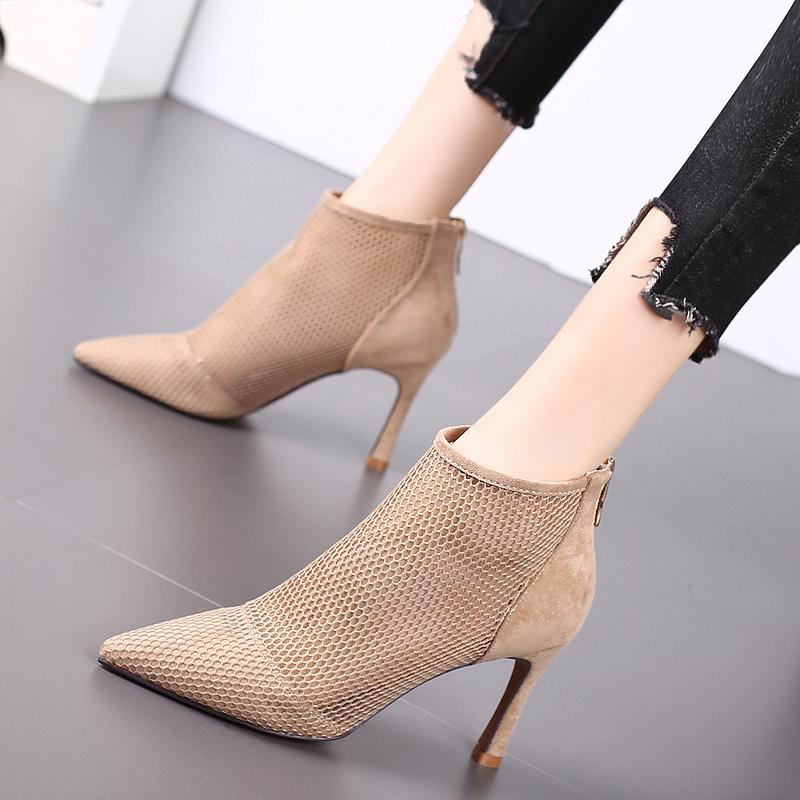 2020秋季新款尖头高跟鞋细跟时尚短靴女镂空性感网红少女马丁靴潮图片
