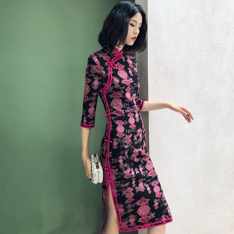 日常改良中长款旗袍连衣裙2018新款女秋时尚大码复古中袖针织盘扣