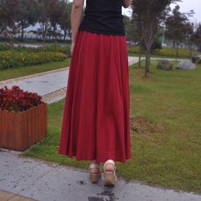 感恩街8号棉麻原创设计文艺亚麻半身裙百搭复古显瘦女裙休闲长裙