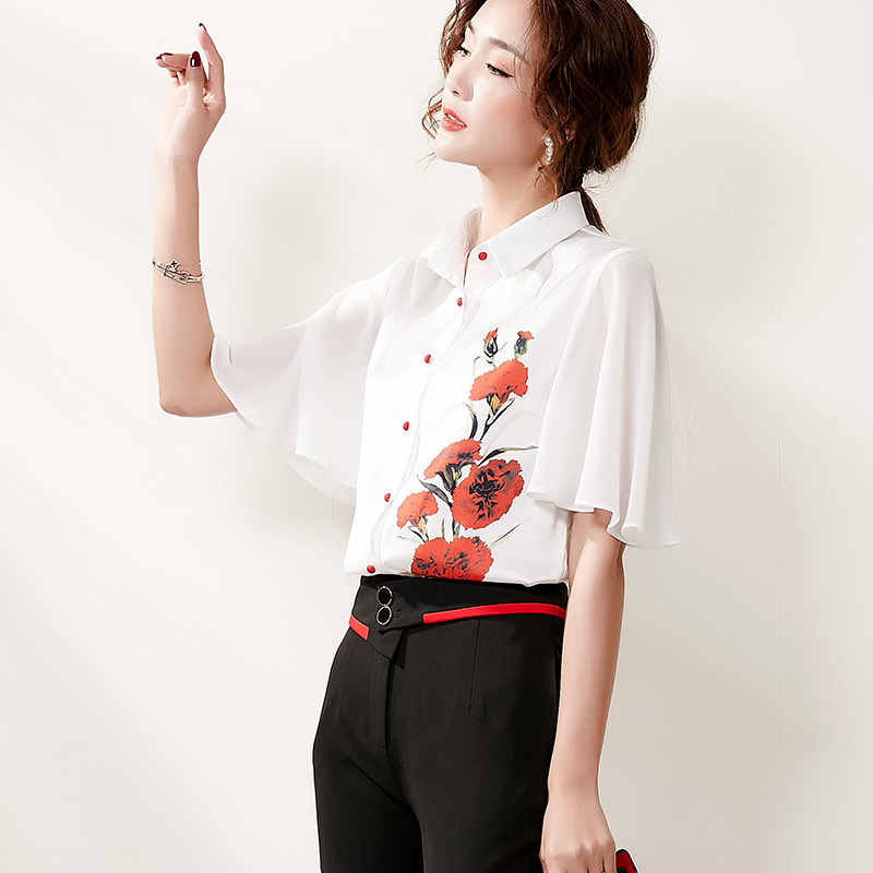 2020 summer new womens Korean style foreign style Lapel contrast professional top embroidered all over shirt and pants