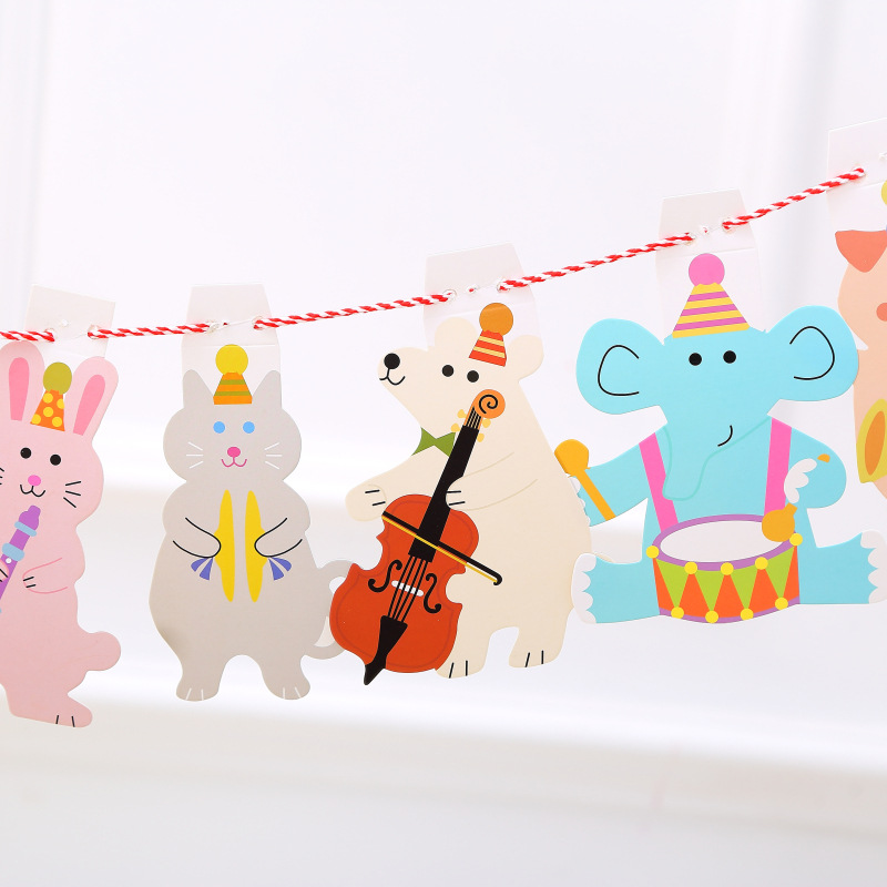 Cute cartoon animal music party flag suit rabbit elephant birthday party paper decorations