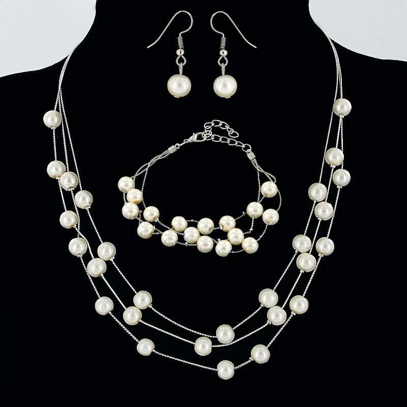 Korean new fashion and aestheticism pearl multi-layer necklace bracelet earrings three piece set bride elegant temperament jewelry