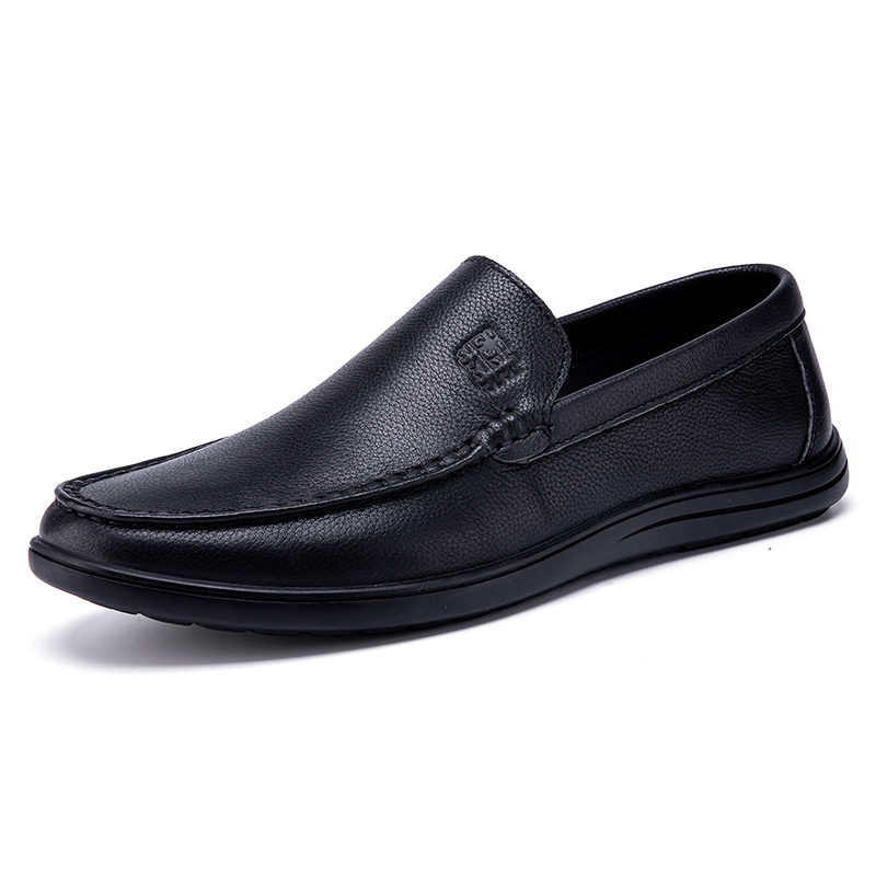 MuLinSen mens shoes spring and autumn new casual leather shoes mens overshoot beans shoes leather round head low top shoes