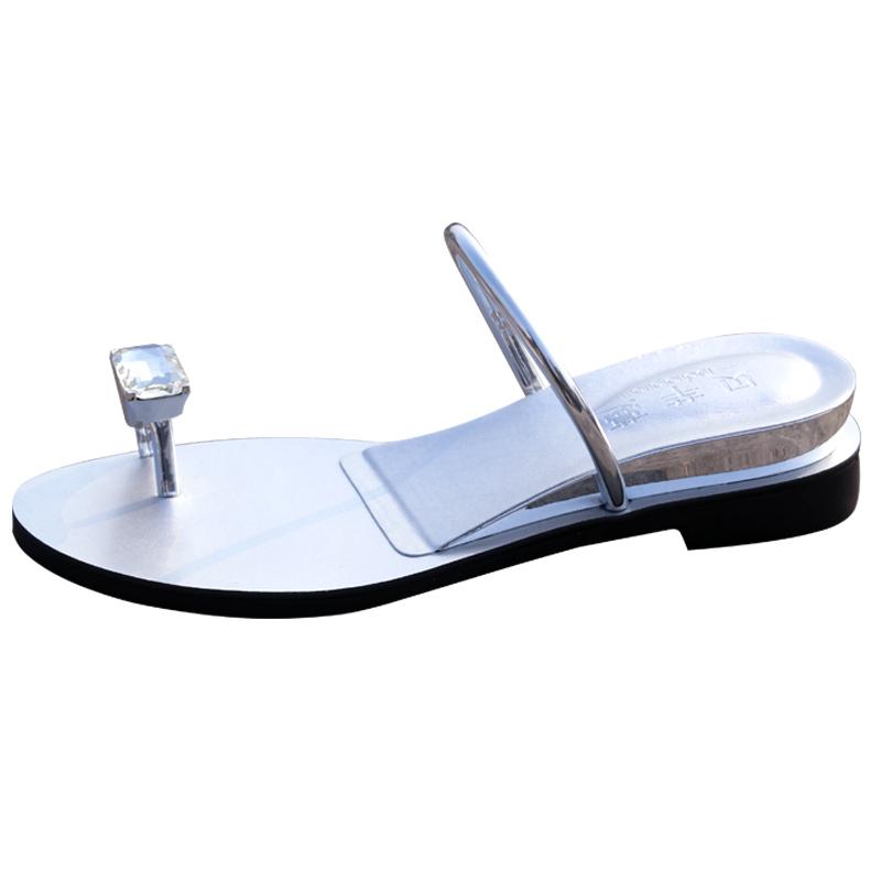 鸽子蛋凉鞋女夏季水钻外穿平底夹趾时尚百搭新款内增高沙滩凉拖鞋