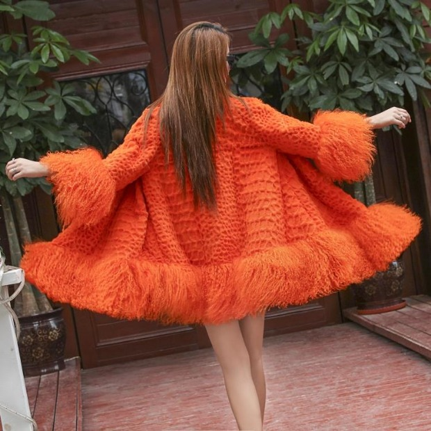 [special price every day] whole skin rabbit fur fur coat Tan wool Haining Korean version 7-sleeve womens middle and long style promotion