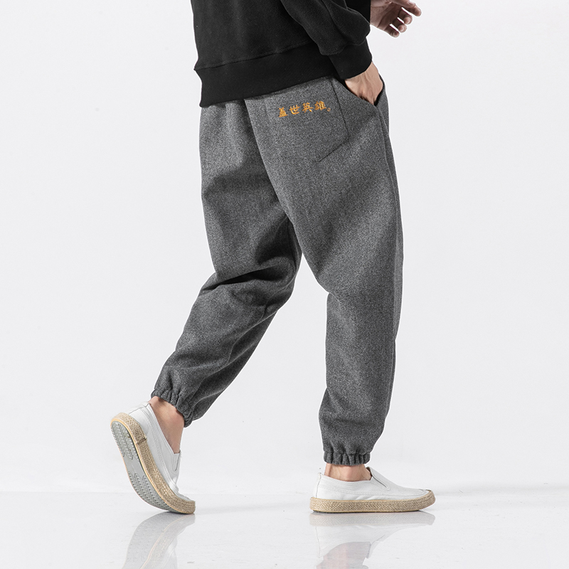 Winter woolen cloth closing embroidery Japanese casual pants with large money 2tang 6017 1712 F80