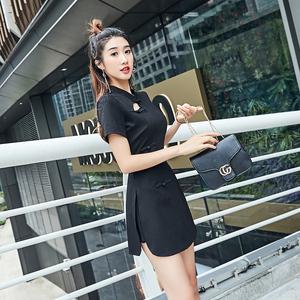 职业套装女2021新款女装夏裙子改良式旗袍气质女神收腰显瘦连衣裙