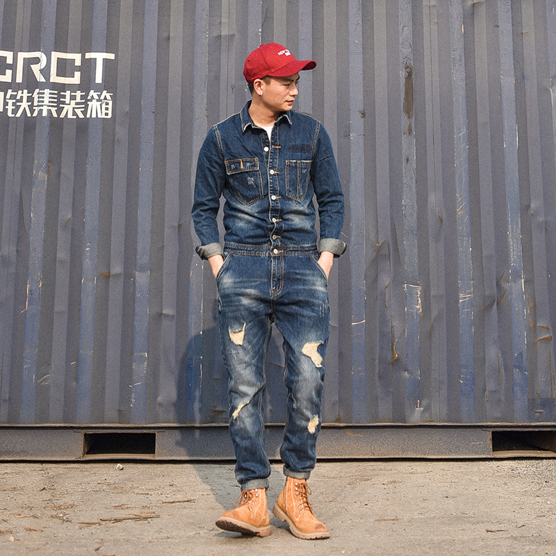 Japanese retro hole denim Jumpsuit mens trousers slim fit one piece work clothes casual coat mens wear trend