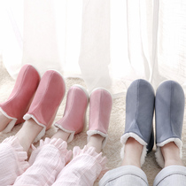 ABS Home cotton shoes home winter cotton slippers female winter bag and thick bottom indoor warm couple cotton tow man