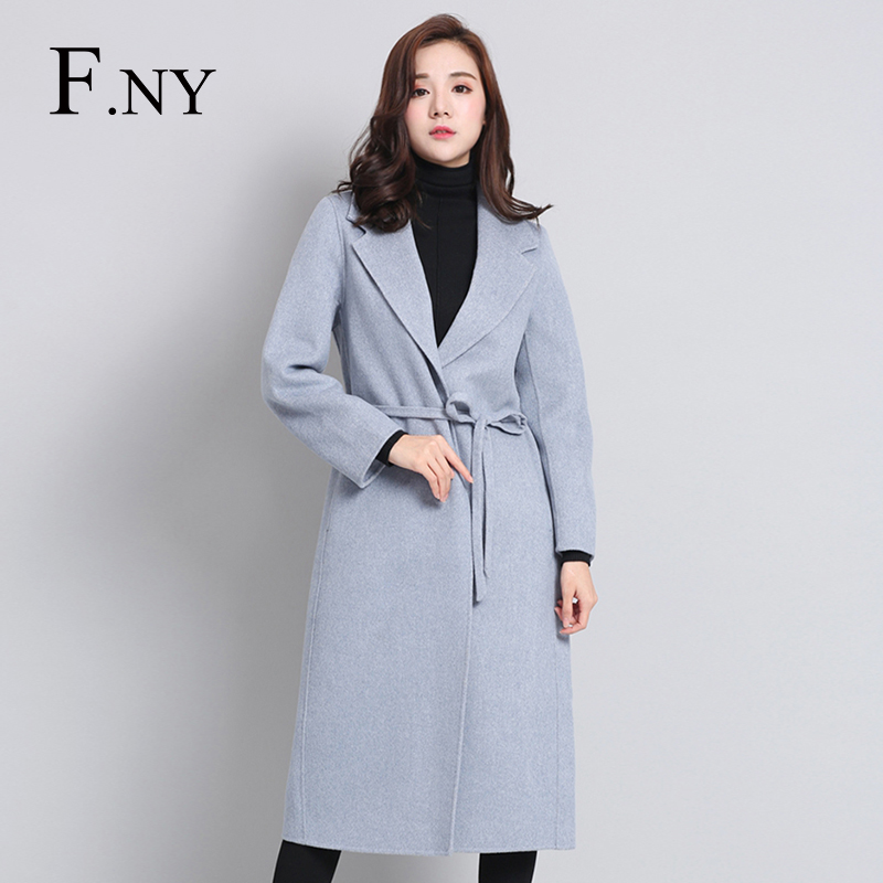 F.NY法妮2018冬装新款双面尼大衣女呢子毛呢外套旗帜显瘦5046715