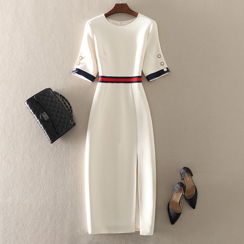 2021春夏新款高端气质职业女装修身欧美大牌中长款短袖包臀连衣裙