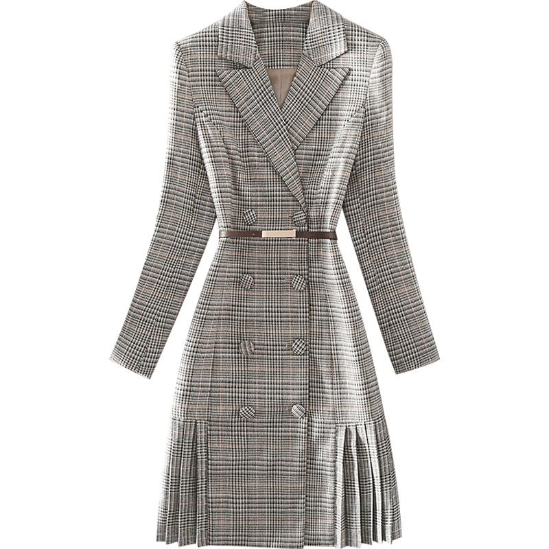秋冬新款气质通勤高端女装千鸟格西装领双排扣腰带收腰长袖连衣裙