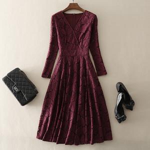 2020秋季新款欧美高端气质女装大摆中长款礼服裙长袖蕾丝连衣裙子