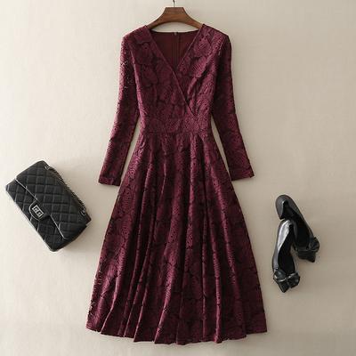 2020秋冬新款欧美高端气质女装大摆中长款礼服裙长袖蕾丝连衣裙子