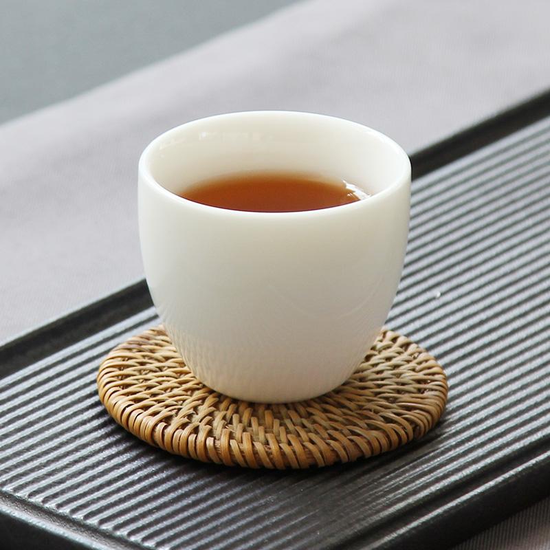 中国白瓷茶杯陶瓷玉瓷杯羊脂玉单杯个人品茗杯主人杯功夫茶具荼杯