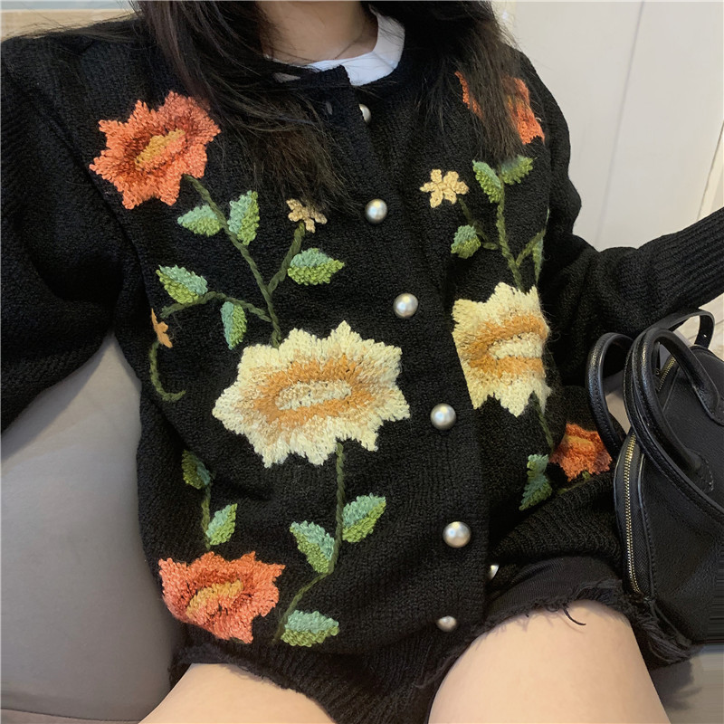 SF Wool Vintage Hand Embroidered Flower womens sweater wool round neck long sleeve knitted cardigan