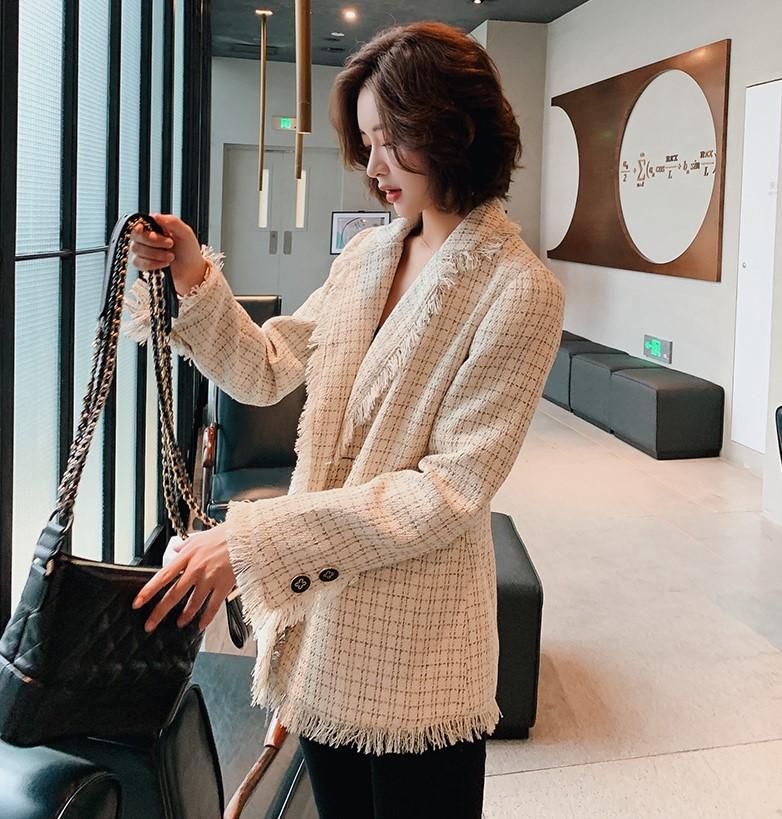 Foreign trade new regular rice discount autumn and winter tassel small fragrance coat womens versatile Plaid slim temperament suit