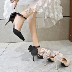 蝴蝶结高跟鞋2020年秋新款法式少女百搭黑色网红尖头细跟单鞋仙女