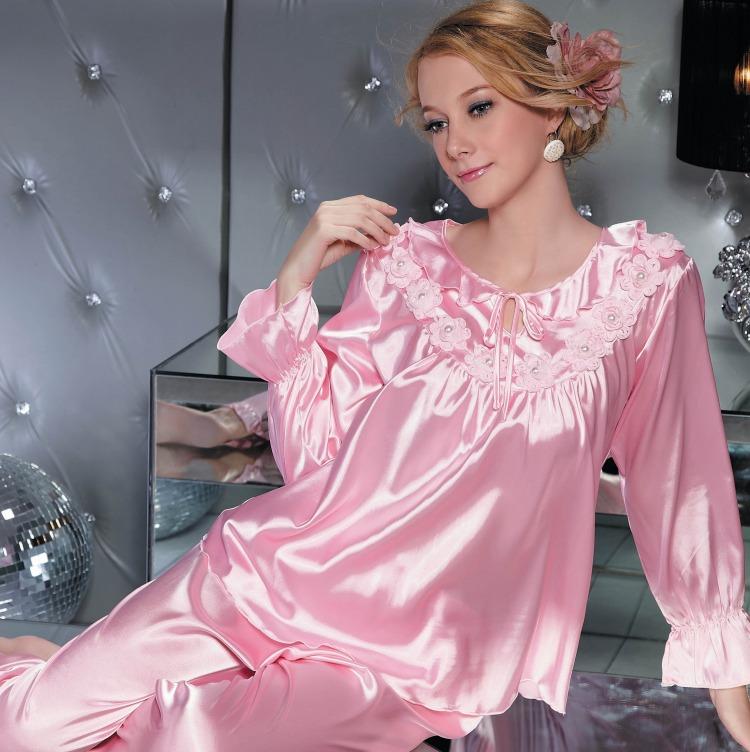 亏本秋季仿真丝睡衣女佐菲丝绸夏纯色可外穿长袖家居服套装清仓