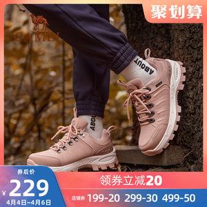 骆驼户外登山鞋男女春季新款防滑越野鞋春游低帮牛皮耐磨徒步鞋