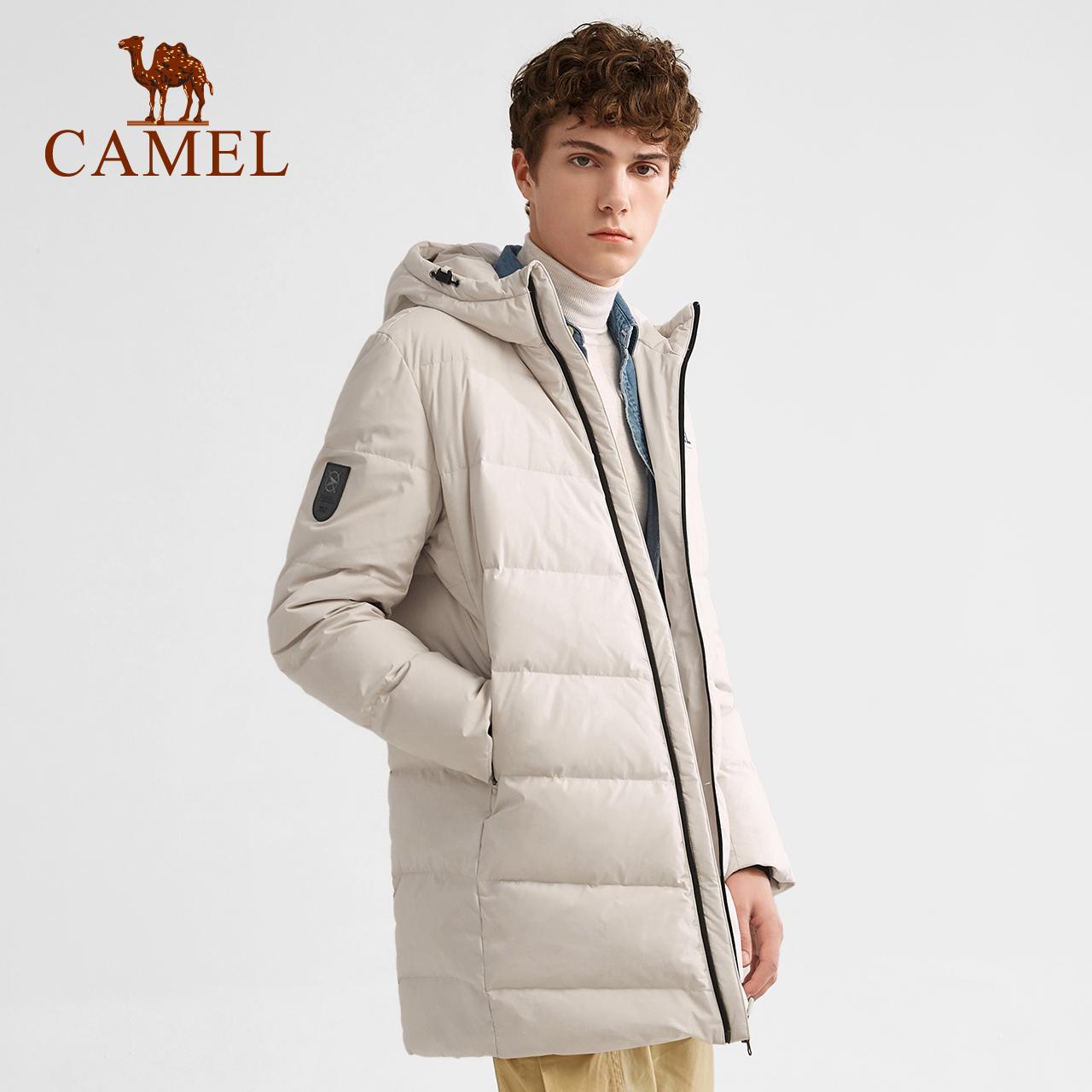 骆驼户外羽绒服连帽中长款冬新款保暖韩版男女加厚运动羽绒服外套