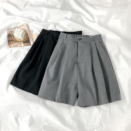 灰色西装裤女夏季薄款中裤直筒宽松高腰显瘦阔腿休闲五分裤短裤潮