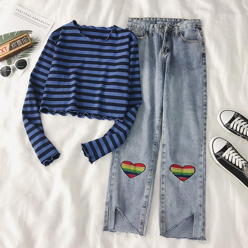 秋季港味套装女长袖短款露脐条纹打底衫T恤+宽松刺绣牛仔裤两件套