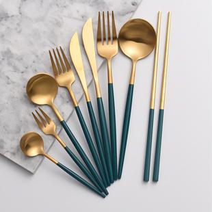 小西家 北欧ins304不锈钢西餐刀叉勺筷绿金色牛排刀甜品勺水果叉价格