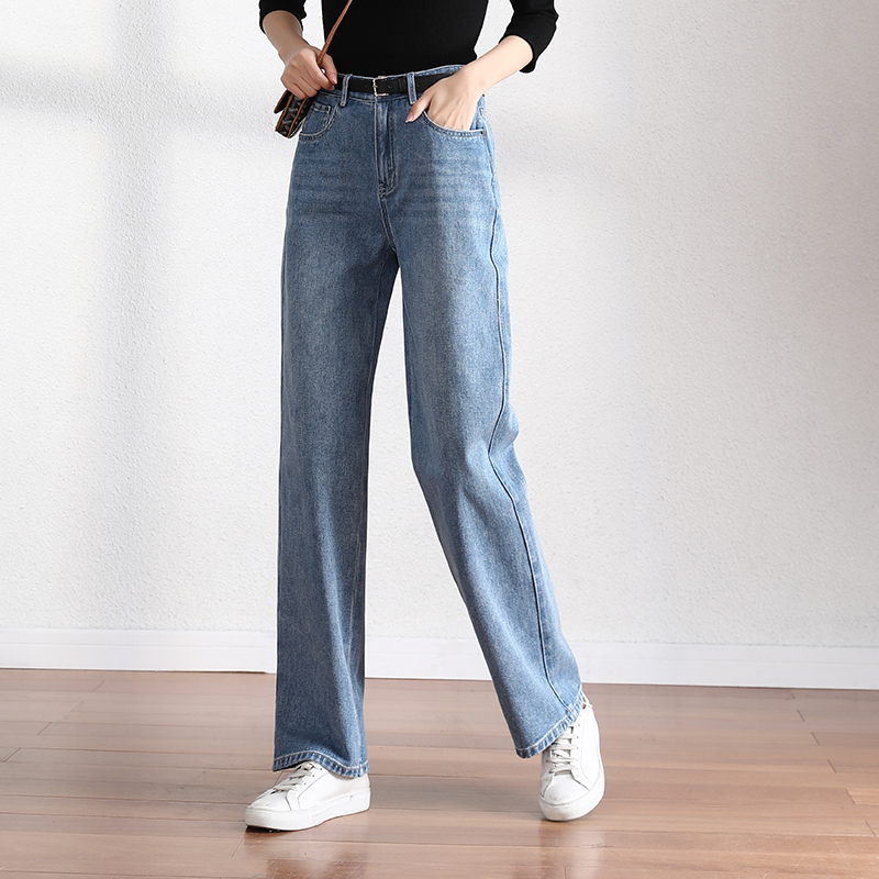 Sofitel jeans women's straight tube loose pants 2020 spring new pants women's high waist thin pants