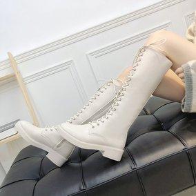 2020秋冬中筒白色女网红绑带高筒靴