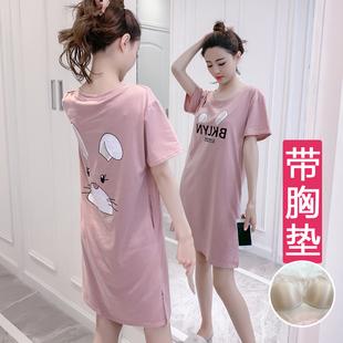 睡裙女夏短袖纯棉带胸垫睡衣韩版卡通一体式内衣可外穿家居服中裙