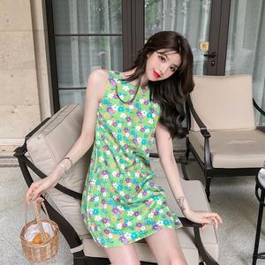 實拍實價-控價-38 夏季泫雅花朵印花收腰寬松無袖背心裙短裙