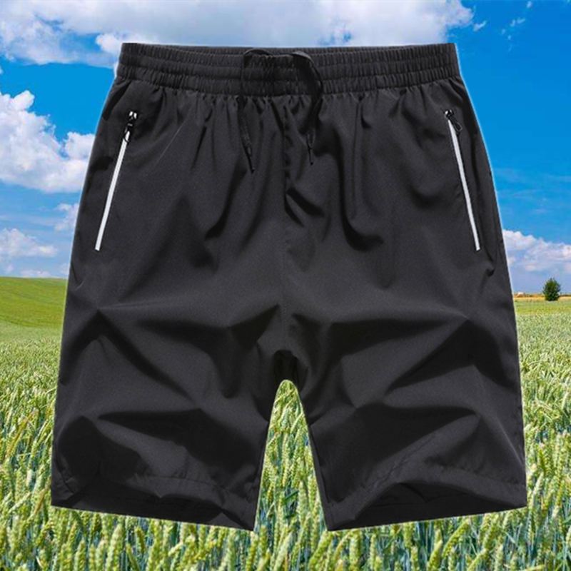 Mens Capris summer thin polyester casual sports beach pants fat plus size loose quick dry pants