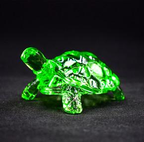 欧式翡翠绿色水晶玻璃乌龟招财化煞长寿风水摆件办公室家居装饰品