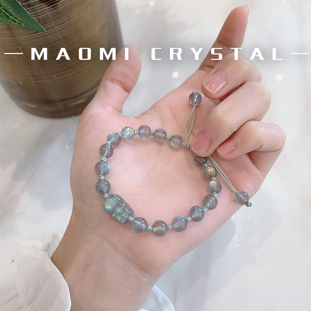 Cat looking for natural strong color light grade 7a gray moonlight 14K crystal elongated stone Rope Bracelet female Guardian love