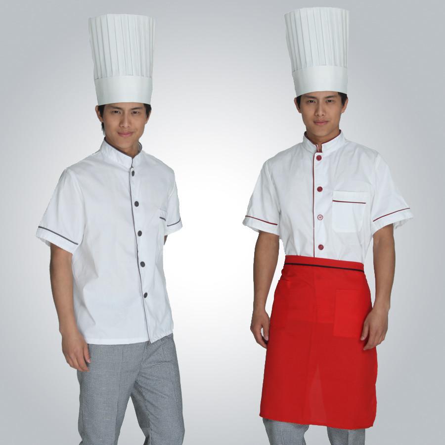 酒店厨师服订做印字半袖夏装中餐厅主厨长工作服面包师制服蛋糕服