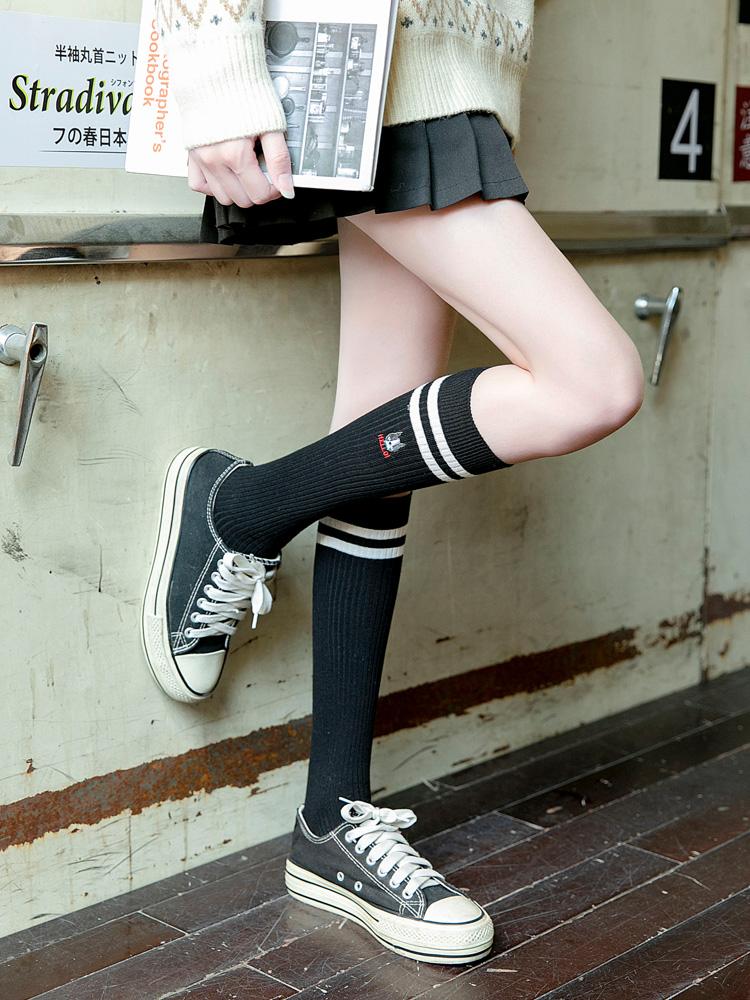。长袜子女中筒袜ins潮日系可爱小腿袜瘦腿韩国长筒及膝袜夏季薄