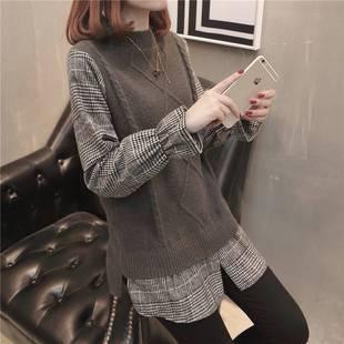 3假兩件毛衣女上衣2020秋新款拼接韓版寬鬆格子喇叭袖套頭針織衫