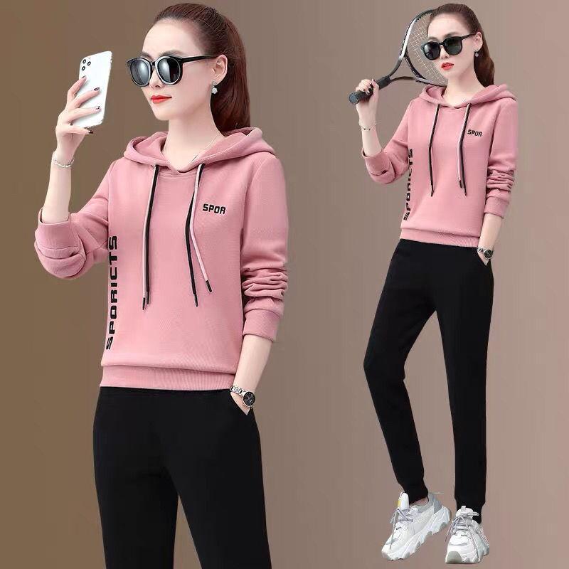 休闲连帽卫衣运动套装女春秋季2021年新款韩版时尚宽松显瘦两件套