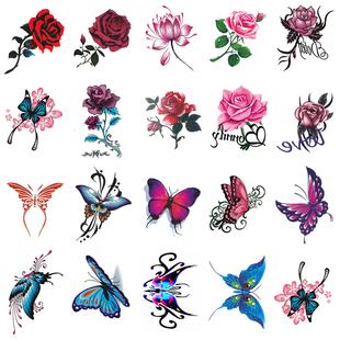 非永久玫瑰花朵蝴蝶网红款 纹身贴防水女持久 遮疤贴 2019新款