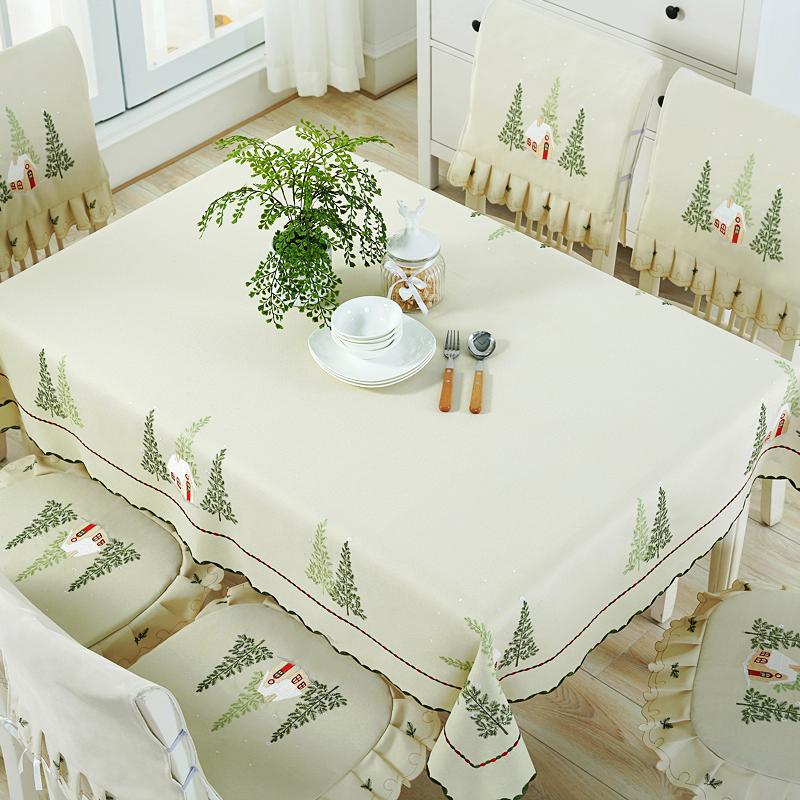 立體彩繡家用餐桌布椅墊美式鄉村布藝檯布森系床頭櫃蓋巾茶几布