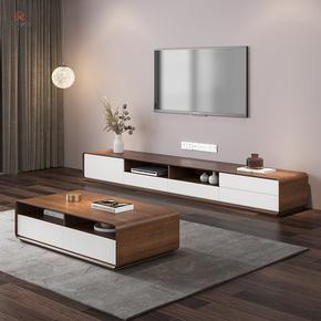 北欧电视柜茶几组合 现代简约大小户型电视机柜 胡桃色客厅地柜